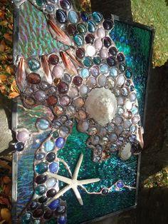 "Stained Glass Tropical Beach Sea Shell Starfish Suncatcher Panel 15""x 10"" OOAK   eBay"