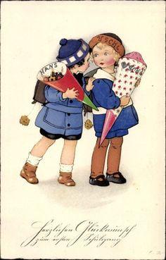 Artist Postcard Baumgarten, Fritz, Kinder mit Zuckertüte, Meissner Buch Vintage Cards, Vintage Images, Baumgarten, Buch Design, Fritz, House Illustration, Holly Hobbie, Vintage Children, Vintage Prints