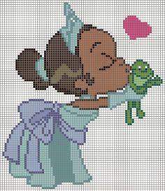 Tiana y el sapo de Disney a punto de cruz