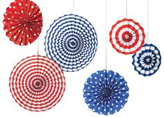 Cute Patriotic Paper Fan Decorations for a 4th of July party! Cheap too!