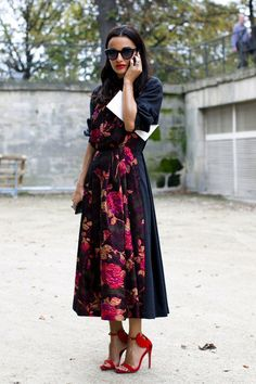 Floral Dress.  Red Shoes.  Street Style: Paris Fashion Week Spring 2014