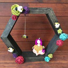 The Pollinator Goddess, hexagon shelf, altar shelf, wall box, colorful shrooms, knick knack shelf, OOAK, shadow box by thisthatandthese on Etsy https://www.etsy.com/listing/587699865/the-pollinator-goddess-hexagon-shelf