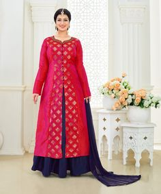 Ayesha Takia Magenta Jacquard Palazzo Style Suit 79226