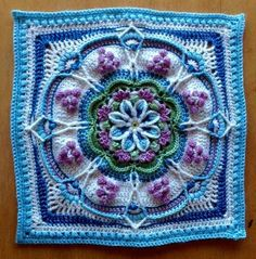 Ravelry: The Pondoland Square pattern by Jen Tyler Motif Mandala Crochet, Crochet Motifs, Crochet Blocks, Granny Square Crochet Pattern, Crochet Stitches Patterns, Crochet Squares, Crochet Designs, Knitting Patterns, Crochet Afghans
