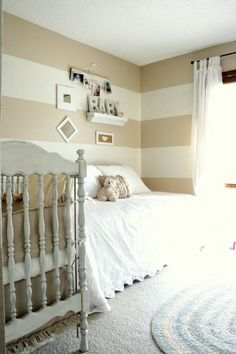 Striped walls (gender neutral nursery if we want to wait to find out sex of baby? Baby Room Neutral, Nursery Neutral, Gender Neutral, Neutral Nurseries, Striped Nursery, White Nursery, Cream Nursery, Natural Nursery, Natural Baby
