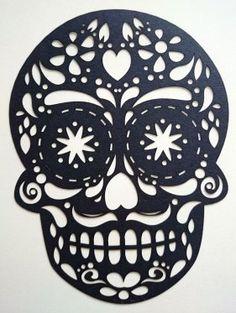 "Teschio ""las muerte"" in cartoncino nero Taglio laser."