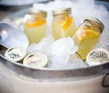 Lemonade in mason jars. Perfect for a backyard BBQ or an outdoor party