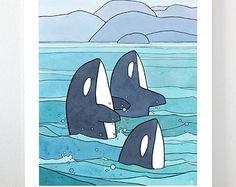 Whale Spouts Nursery Ocean Art Print 8x10
