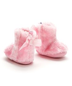 Loving this Stepping Stones Pink Plush Faux Fur Bootie on #zulily! #zulilyfinds