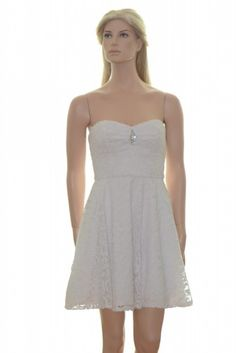 Betsy & Adam White Lace Strapless Party Cocktail Dress