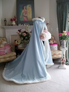 Frozen Sleeping Beauty Bridal Cape Extra long 58 / 78 Powder Blue / Ivory Satin Wedding Cloak Made in the USA