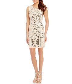 Vince Camuto Geometric Sequin Sheath Dress