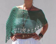 Poncho de punto, poncho de verano, tejido a mano, chal verde, poncho de algodón