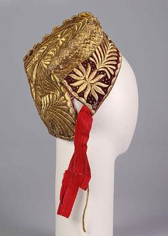 Hat Date: century Culture: Russian Medium: Cotton, metal, linen, paper Accession Number: Authentic Costumes, Wig Hat, Russian Folk Art, Mobile Art, Gold Work, Russian Fashion, Steampunk Clothing, Folk Costume, Fashion History