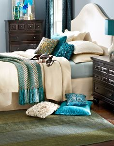 Update a classic bedroom with bold pillows and throws-like that the headboard & other furniture do not match--Replace the blue with purple! Pier One Bedroom, Home Decor Bedroom, Bedroom Furniture, Furniture Design, Master Bedroom, Dream Bedroom, Bedroom Ideas, Kids Bedroom, Furniture Sets