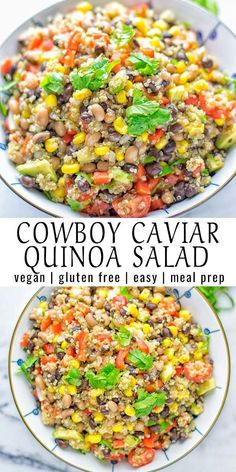 Meal Prep This Cowboy Caviar Quinoa Salad is naturally vegan, gluten free, and so satisfying. It has all the flavors you'll love and is super easy to make for dinner, lunch, meal prep and so much more. Enjoy and try it now You'll know how easy it can be. Quinoa Recipes Easy, Salad Recipes, Vegetarian Recipes, Healthy Recipes, Gluten Free Quinoa Salad, Quinoa Meals, Jello Recipes, Easter Recipes, Free Recipes