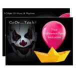 Go on take it clown  halloween paper boat balloon card