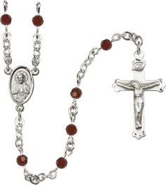 4mm Garnet Swarovski Sterling Silver Rosary by Bliss | Catholic Shopping .com