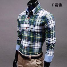 Slim Plaid Shirt Casual Male 100% Cotton Long-Sleeve Plaid Shirt Big Size M-XXXL 19 Style