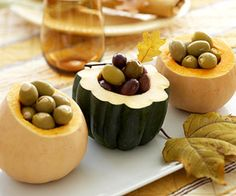 Core out gourds and use them as serving dishes and bowls for snacks and hors d'oeuvres