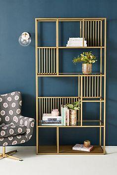 Irregular Brass Bookshelf by Anthropologie in Brown Size: All, Storage – Bookshelf Decor Metal Furniture, Unique Furniture, Home Furniture, Furniture Design, Diy Room Decor, Living Room Decor, Home Decor, Styling Bookshelves, Regal Design