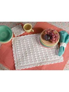 crocheted cobbled lace place mat set-  Designed by Carol Alexander  Create this 3-piece set in white or your favorite color!  free pdf pattern download