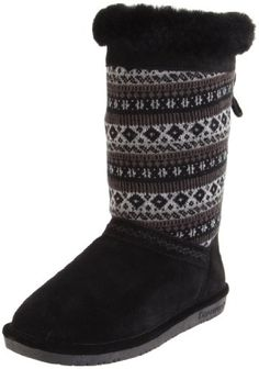 $67.50-$74.99 BEARPAW Women's Grace Boot,Black,6 M US - Walk with confidence through the season in the Bearpaw Grace boots. These boots feature a suede foot and a fabric shaft with a knit pattern and back lace closure for an adjustable calf. Sheepskin and wool lining with a sheepskin footbed provide plush comfort. http://www.amazon.com/dp/B004PELBXC/?tag=icypnt-20
