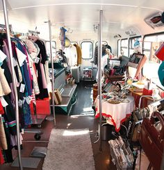 """Erin Sutherland has found operating a vintage dress shop in a 1965 Bristol Lodekka double-decker bus attracts more attention than a traditional storefront would. """"It creates an intimate retail setting customers don't get anywhere else,"""" she says. Mobile Boutique, Mobile Shop, Mobile Business, Soap Shop, Colorado Homes, Boutique Interior, Bus Conversion, Pop Up Shops, Remodeled Campers"""