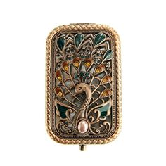 Ivenf Antique Vintage Square Compact Purse Mirror Wedding / Christmas / Birthday Gift, Peacock Spreading Tail, Rose Copper
