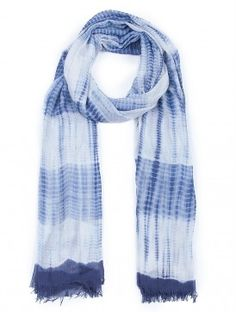 Indigo-White Shibori Dyed Handwoven Modal Silk Stole by Soul Weaves