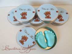 Cha de bebe, lembrancinhas, sabonetinhos, latinhas, personalizados
