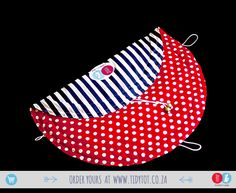 """Tidy Tot   Similar to the """"Nautical"""" ones which were so popular before, we're sure you'll LOVE our new Navy Stripes with Red Polka Dots design JUST as much. One of our personal """"favs"""" here at Tidy Tot H.Q, this little gem is beautifully PADDED for your little one's comfort and has 2 beads.  www.tidytot.co.za 
