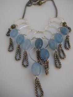 ice blue quartz/ pyrite silver tassel necklace