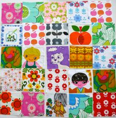 Cheerful vintage fabric patchwork!