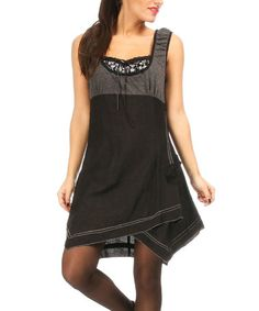 Look at this #zulilyfind! Black & Gray Contrast Layered Dress by L33 by Virginie&Moi #zulilyfinds