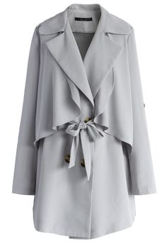Inspirational Double Breasted Mac Coat in Grey - Retro, Indie and Unique Fashion