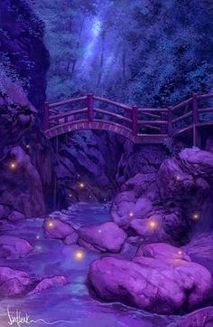 this is Firefly creek. It leads to a glowing purple-ish blue-ish lake that is lined with crystals and is surrounded by The Black Forest called The Magenta Lake which is where Julie the Mermaid lives