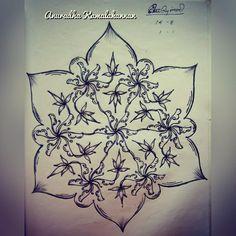 "A flower pond like kolam.. . . For more such arts.. visit my YouTube channel ""Brindhavan-An Art Garden"" (Link in bio) If you like my videos.. Like 👍❤️. Share 🔁👥 Subscribe 🔜📬📽️ . . . .  #painting #paintingart #art #design #drawing #sketch #chikkukolam #sikkukolam #expandingkolam #combinedkolams #pullikolam #kolam #rangoli #flowerpond #flowers #pond #lotuses #lotuspond"