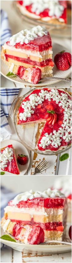 This STRAWBERRY SHORTCAKE PIE is the ultimate Summer sweet treat! Layers of strawberries, cream, and pound cake make for the most delicious (EASY) strawberry pie! via @beckygallhardin