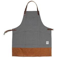 Gray cotton apron