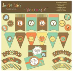 Jungle Animals Baby Shower Printable Party Kit with EDITABLE TEXT for you to PERSONALIZE - Printable pdf. $14.95, via Etsy.