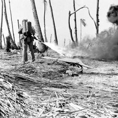 American Marine uses a flamethrower on a Japanese pillbox during Battle of Eniwetok, February 1944.