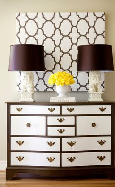 i have a dresser just like this and i am considering painting the drawer fronts to give it a fresh modern update. hmmm......