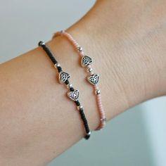 2 bracelets bead bracelet stretch bead bracelet thin bracelets small bead bracelet black and si - 2 bracelets bead bracelet stretch bead bracelet thin bracelets small bead bracelet black and si - Diy Beaded Bracelets, Seed Bead Bracelets, Healing Bracelets, Colorful Bracelets, Bracelet Sizes, Beaded Jewelry, Wire Jewelry, Metal Beads, Fashion Bracelets