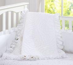 "Ruffle Collection Nursery Bedding - SMALL DECORATIVE SHAM - Monterey font  - personalized ""Skylar"""