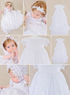 With the Lucy, our sumptuous heirloom bouffant slip peeks out from beneath a frilly lace gown trimmed with yards and yards of ruffles and ribbons: a girl's dream come true! Christening Gowns For Girls, Girls Baptism Dress, Blessing Dress, Girls Dream, White Fabrics, Beautiful Gowns, Ruffles, Flower Girl Dresses, Lds