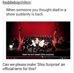 SHIA SURPRISE #shia- this video, the play in the picture is hilarious! It's supposed to be serious but to my friends and I it's hilarious!