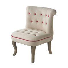 cute cream/raspberry accent chair