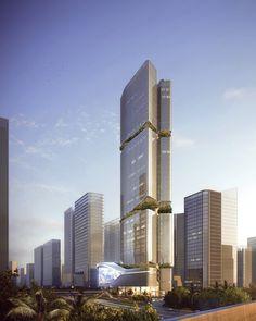 Galería de Inspirado en el bambú, Aedas presenta diseño de futuro rascacielos en China - 3