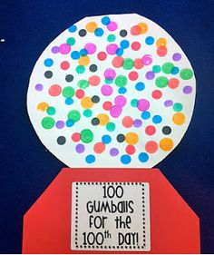 use bingo dabbers or finger painting, have a way for students to keep track so that there are 100 dots by the end! use the graphing activity to follow up ( or to plan how many of each colour?...)
